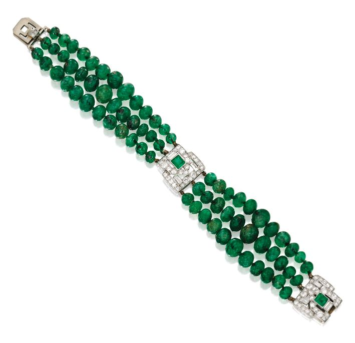 Lot-67-Platinum-Emerald-Bead-Diamond-and-Emerald-Bracelet-Lacloche-Frères-France-Circa-1930
