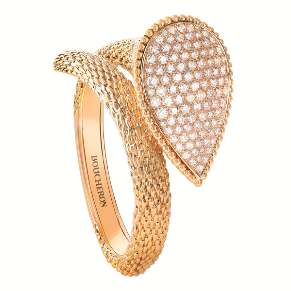 NEW!  Serpent Bohäme Bangle bracelet set with pavÇ diamonds, in yellow gold