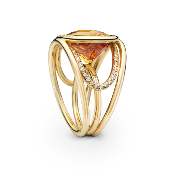 Bague Navona or jaune joaillerie Citrine & diamants